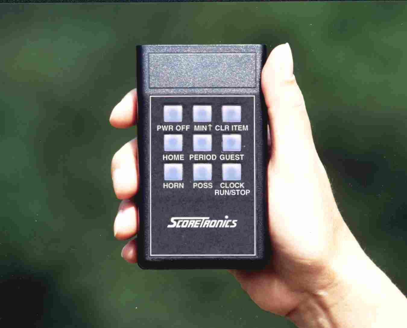 Standard remote control for portable scoreboard.