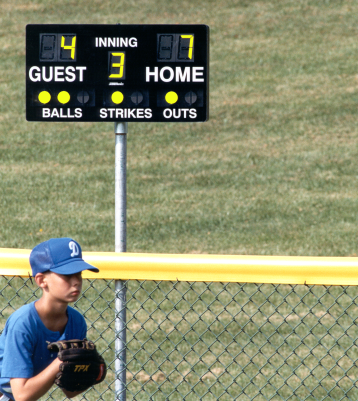 Portable remote controlled scoreboards for baseball/softball, football, basketball, soccer, and many other sports.